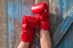 Το ζευγάρι του θηλυκού παραδίδει τα κόκκινα εγκιβωτίζοντας γάντια στοκ φωτογραφία με δικαίωμα ελεύθερης χρήσης