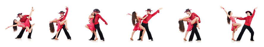 Το ζευγάρι των χορευτών που απομονώνονται στο λευκό Στοκ Φωτογραφία