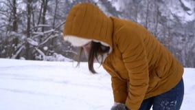 Το ζεύγος έχει την πάλη χιονιών απόθεμα βίντεο