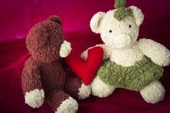 Το ζεύγος αντέχουν και η καρδιά αγάπης την ημέρα βαλεντίνων Στοκ Φωτογραφία
