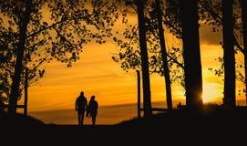 Το ζεύγος εραστών σκιαγραφεί το ηλιοβασίλεμα Στοκ Εικόνες