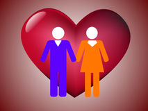 Το ζεύγος και η καρδιά Στοκ εικόνα με δικαίωμα ελεύθερης χρήσης
