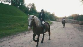 Το ζεύγος του επαγγελματικού άνδρα jockeys και η γυναίκα οδηγούν τα άλογα στο δρόμο επαρχίας απόθεμα βίντεο