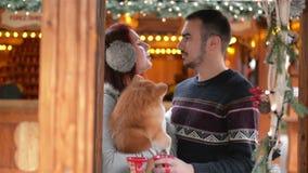 Το ζεύγος των εραστών αγκαλιάζει με ένα σκυλί Cutie Έχουν την καλή διάθεση από κοινού Ντυμένος θάλαμος, φω'τα Χριστουγέννων πίσω φιλμ μικρού μήκους