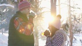 Το ζεύγος των νέων το χειμώνα ντύνει το καυτό θερμαμένο κρασί κατανάλωσης στο ηλιοβασίλεμα στο χειμερινό δάσος, αργό MO χειμερινώ απόθεμα βίντεο