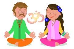 Το ζεύγος χίπηδων στο zen θέτει το διάνυσμα Στοκ Εικόνες