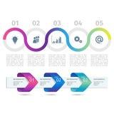 Το ζωηρόχρωμα διάγραμμα και τα βέλη διαδικασίας Infographic με επιταχύνουν τις επιλογές διάνυσμα ελεύθερη απεικόνιση δικαιώματος
