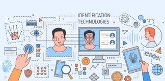Το ζωηρόχρωμο έμβλημα με τα εργαλεία τεχνολογίας αναγνώρισης προσώπου, εφαρμογή για το δακτυλικό αποτύπωμα και ανίχνευση αμφιβλησ διανυσματική απεικόνιση