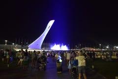 Το ζωηρόχρωμο βράδυ παρουσιάζει του ολυμπιακού φανού στο ολυμπιακό πάρκο Sochi Στοκ Εικόνες