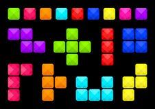Το ζωηρόχρωμο σύνολο τετραγωνικών κουμπιών, διαφορετικές μορφές εμποδίζει, διάφοροι τύποι συνδέσεων φραγμών r απεικόνιση αποθεμάτων