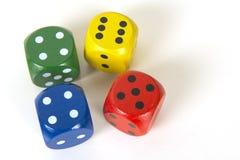 Το ζωηρόχρωμο τυχερό παιχνίδι τέσσερα χωρίζει σε τετράγωνα σε ένα άσπρο υπόβαθρο υποβάθρου που βλέπει Στοκ φωτογραφίες με δικαίωμα ελεύθερης χρήσης
