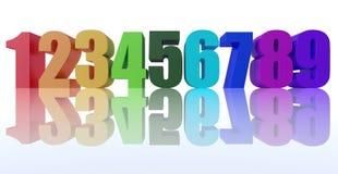 Το ζωηρόχρωμο υπόβαθρο αριθμών τρισδιάστατο δίνει την τρισδιάστατη απεικόνιση Στοκ Φωτογραφία