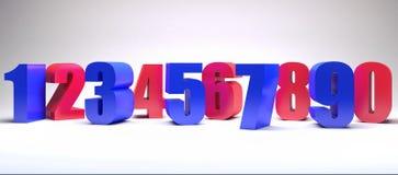 Το ζωηρόχρωμο υπόβαθρο αριθμών τρισδιάστατο δίνει την τρισδιάστατη απεικόνιση Στοκ Εικόνες