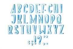 Το ζωηρόχρωμο χειρόγραφο χέρι τύπων πηγών ακουαρελών watercolor σύρει abc τις επιστολές αλφάβητου Στοκ Εικόνες