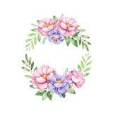 Το ζωηρόχρωμο floral στεφάνι κρητιδογραφιών με peony, ανθίζει, φεύγει, φεύγει, απεικόνιση αποθεμάτων