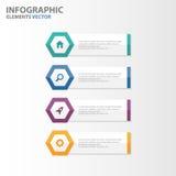 Το ζωηρόχρωμο hexagon επίπεδο σχέδιο προτύπων παρουσίασης στοιχείων Infographic εμβλημάτων έθεσε για το μάρκετινγκ φυλλάδιων ιπτά Στοκ εικόνα με δικαίωμα ελεύθερης χρήσης