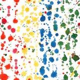 Το ζωηρόχρωμο watercolor λεκιάζει το άνευ ραφής σχέδιο Στοκ Φωτογραφίες