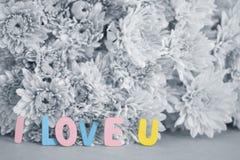 Το ζωηρόχρωμο Word ` Ι U ` αγάπης στα γραπτά λουλούδια στοκ φωτογραφία