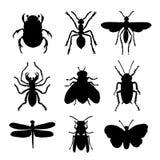 Το ζωικό εικονίδιο εντόμων απομόνωσε οριζόντια το μαύρο διάνυσμα αραχνών πεταλούδων μυρμηγκιών ζωύφιου σκιαγραφιών απεικόνιση αποθεμάτων