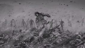 Το ζωντανό πρόσωπο αυξάνεται από έναν σωρό των corpses και αυξάνεται σε ένα περιβάλλον των zombies απεικόνιση αποθεμάτων