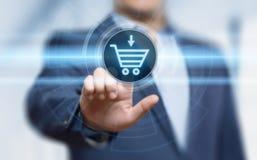 Το ηλεκτρονικό εμπόριο προσθέτει στη σε απευθείας σύνδεση έννοια Διαδικτύου επιχειρησιακής τεχνολογίας αγορών κάρρων Στοκ εικόνα με δικαίωμα ελεύθερης χρήσης