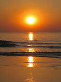 το ηλιοβασίλεμα κολυμ Στοκ Φωτογραφίες