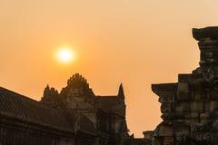 Το ηλιοβασίλεμα στο angkor wat στο siem συγκεντρώνει την Καμπότζη Στοκ Εικόνες