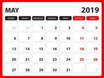 Το ημερολόγιο γραφείων για το πρότυπο το Μάιο του 2019, εκτυπώσιμο ημερολόγιο, πρότυπο σχεδίου αρμόδιων για το σχεδιασμό, εβδομάδ διανυσματική απεικόνιση