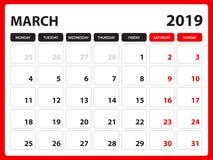 Το ημερολόγιο γραφείων για το πρότυπο το Μάρτιο του 2019, εκτυπώσιμο ημερολόγιο, πρότυπο σχεδίου αρμόδιων για το σχεδιασμό, εβδομ ελεύθερη απεικόνιση δικαιώματος