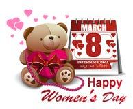Το ημερολόγιο με την ημερομηνία της 8ης Μαρτίου, χαριτωμένο Teddy αφορά, συγχαρητήρια την ημέρα των διεθνών γυναικών Διακοπές γυν Στοκ Φωτογραφίες