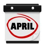 Το ημερολόγιο τοίχων του Word μήνα Απριλίου θυμάται το σχέδιο Στοκ εικόνα με δικαίωμα ελεύθερης χρήσης
