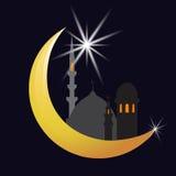 Το ημισεληνοειδή φεγγάρι και το αστέρι πόλη Ασιάτης Εορτασμός απεικόνιση Στοκ Εικόνα