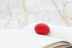 Το ηλέκτρινο κόκκινο αυγό στο καθολικό παρουσιάζει σφαιρικές επιχειρησιακές προκλήσεις στοκ φωτογραφίες με δικαίωμα ελεύθερης χρήσης