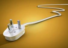 Το ηλεκτρικά βούλωμα και το καλώδιο βρίσκονται αποσυνδεμένα απομονώνουν στην κίτρινη πλάτη Στοκ Εικόνες