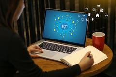 Το ηλεκτρονικό εμπόριο προσθέτει στο κάρρο που το σε απευθείας σύνδεση κατάστημα διαταγής αγοράζει τη σε απευθείας σύνδεση πληρωμ στοκ εικόνα