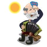 Το ηλικιωμένο άτομο παίζει το ακκορντέον την ηλιόλουστη ημέρα απεικόνιση αποθεμάτων