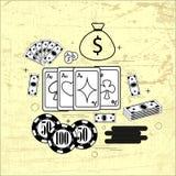 Το θέμα του παιχνιδιού: κάρτες, χρήματα, τσιπ Στοκ φωτογραφία με δικαίωμα ελεύθερης χρήσης