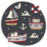 Το θαλάσσιο χαριτωμένο σύνολο έκανε με τις βάρκες, τα σκάφη, το νερό, τη σανίδα σωτηρίας, seagull, τη θάλασσα και την άγκυρα Στοκ Εικόνες