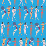 Το θερινό άνευ ραφής σχέδιο οι γυναίκες Στοκ Εικόνες