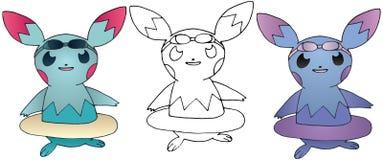Το θερινό ευτυχές αστείο χέρι χρώματος τεράτων κινούμενων σχεδίων doodle σύρει χαριτωμένο ελεύθερη απεικόνιση δικαιώματος