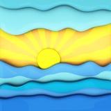 Το θερινό ηλιοβασίλεμα πέρα από τη θάλασσα, αφαιρεί τρισδιάστατο Στοκ Εικόνες