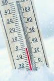 Το θερμόμετρο στο χιόνι παρουσιάζει χαμηλές θερμοκρασίες μηδέν χαμηλή θερμοκρασία στοκ φωτογραφία με δικαίωμα ελεύθερης χρήσης