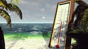 Το θερμόμετρο fahrenheit Κέλσιος παρουσιάζει χαμήλωμα της θερμοκρασίας Η έννοια της σφαιρικής ψύξης απεικόνιση αποθεμάτων