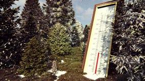 Το θερμόμετρο Fahrenheit Κέλσιος στο δάσος παρουσιάζει χαμήλωμα της θερμοκρασίας Η έννοια της σφαιρικής ψύξης απεικόνιση αποθεμάτων