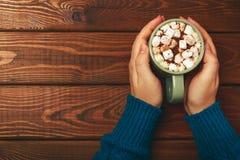 Το θηλυκό κράτημα χεριών κοιλαίνει ή κούπα της καυτής σοκολάτας με marshmallow και την κανέλα Στοκ φωτογραφία με δικαίωμα ελεύθερης χρήσης
