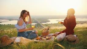 Το θηλυκό ομοφυλοφιλικό ζεύγος είχε ένα πικ-νίκ Που μιλούν και πίνουν το κρασί φιλμ μικρού μήκους
