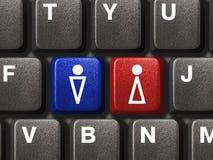 το θηλυκό πληκτρολόγιο κλειδώνει το αρσενικό PC Στοκ Εικόνες