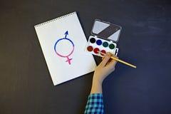 Το θηλυκό σύμβολο γένους είναι ίσο με την αρσενική έννοια της ισότητας φίλων Στοκ φωτογραφία με δικαίωμα ελεύθερης χρήσης