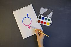 Το θηλυκό σύμβολο γένους είναι ίσο με την αρσενική έννοια της ισότητας φίλων Στοκ φωτογραφίες με δικαίωμα ελεύθερης χρήσης