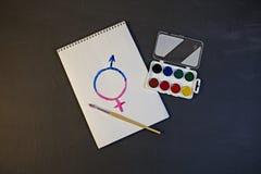 Το θηλυκό σύμβολο γένους είναι ίσο με την αρσενική έννοια της ισότητας φίλων Στοκ Εικόνες